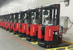 Row of forklifts for material handling